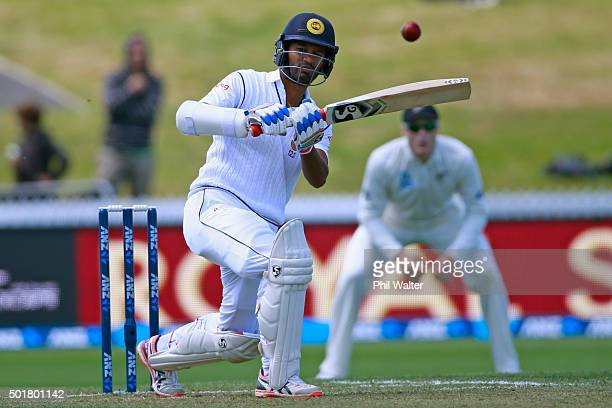 Dimuth Karunaratne of Sri Lanka bats during day one of the Second Test match between New Zealand and Sri Lanka at Seddon Park on December 18 2015 in...