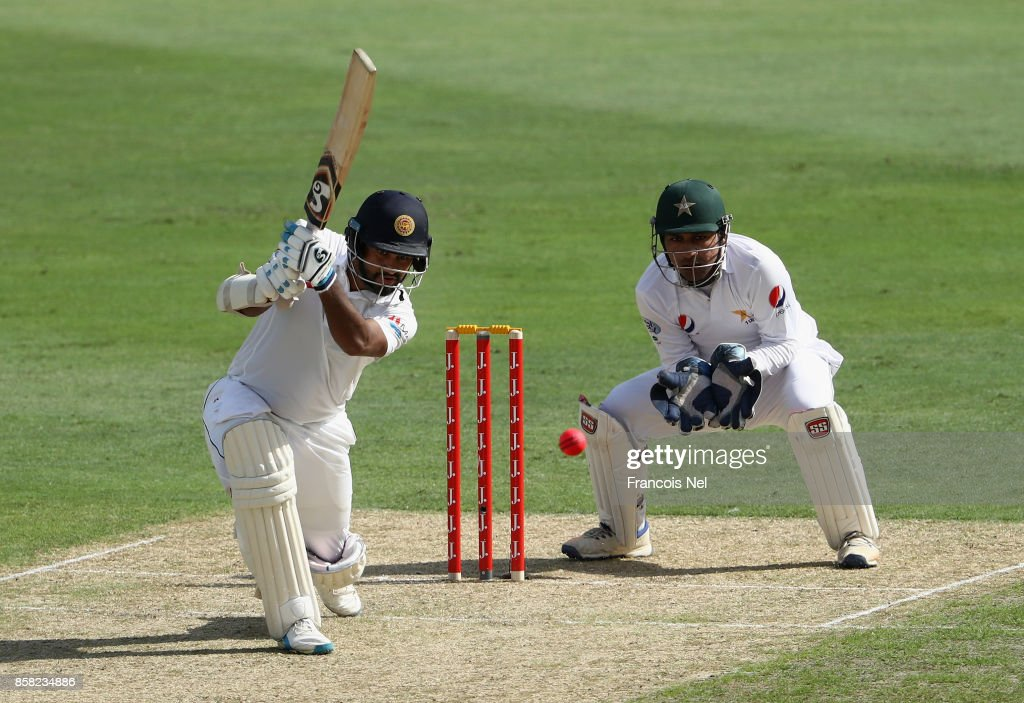 Dimuth Karunaratne of Sri Lanka bats during Day One of the Second Test between Pakistan and Sri Lanka at Dubai International Cricket Ground on October 6, 2017 in Dubai, United Arab Emirates.