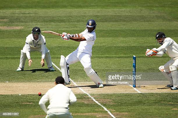 Dimuth Karunaratne of Sri Lanka bats during day three of the First Test match between New Zealand and Sri Lanka at Hagley Oval on December 28 2014 in...