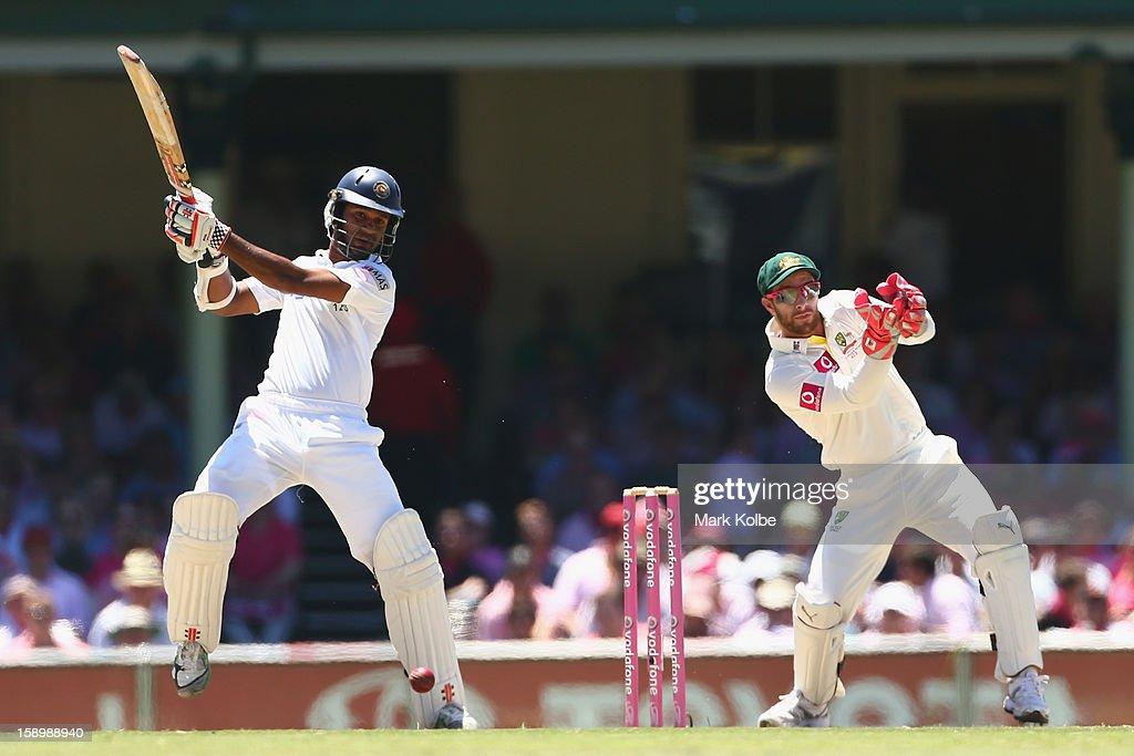 Dimuth Karunaratne of Sri Lanka bats during day three of the Third Test match between Australia and Sri Lanka at Sydney Cricket Ground on January 5, 2013 in Sydney, Australia.