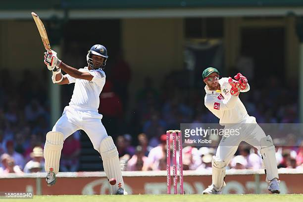 Dimuth Karunaratne of Sri Lanka bats during day three of the Third Test match between Australia and Sri Lanka at Sydney Cricket Ground on January 5...