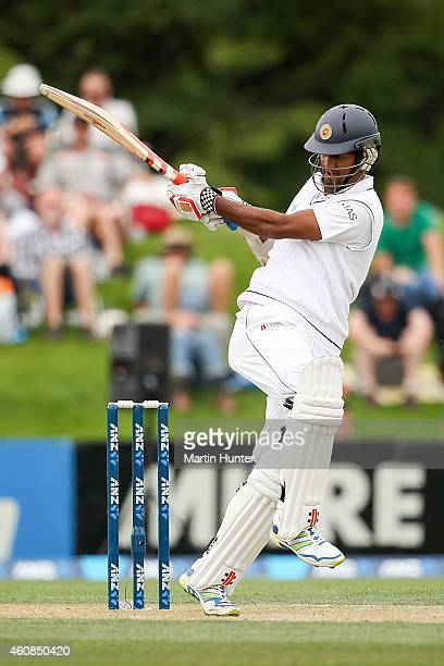 Dimuth Karunaratne of Sri Lanka bats during day two of the First Test match between New Zealand and Sri Lanka at Hagley Oval on December 27 2014 in...