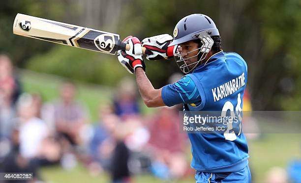 ZEALAND FEBRUARY Dimuth Karunaratne of Sri Lanka bats during the 2015 ICC Cricket World Cup match between Sri Lanka and Afghanistan at University...