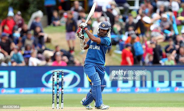 Dimuth Karunaratne of Sri Lanka bats during the 2015 ICC Cricket World Cup match between Sri Lanka and Afghanistan at University Oval on February 22...