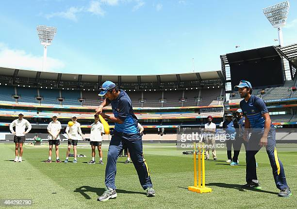 Dimuth Karunaratne of Sri Lanka bats whilst playing a game against cricketers from Geelong Grammar School during an ICC Charity Session at Melbourne...