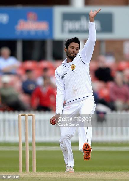 Dimuth Karunaratne of Sri Lanka bowls during the tour match between Leicestershire and Sri Lanka at Grace Road on May 14 2016 in Leicester England