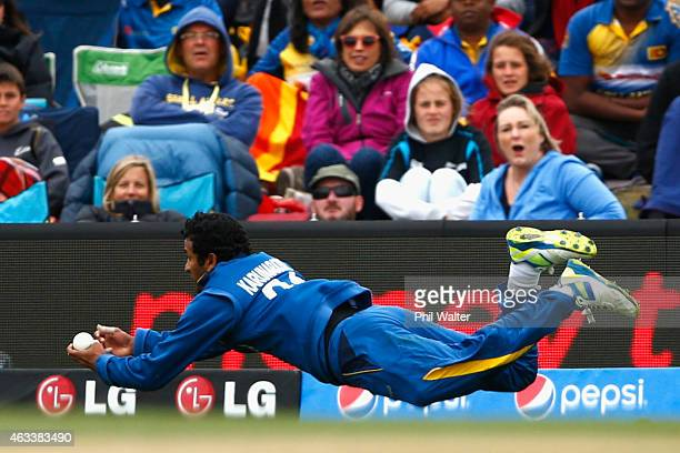 Dimuth Karunaratne of Sri Lanka catches out Kane Wlliamson of New Zealand during the 2015 ICC Cricket World Cup match between Sri Lanka and New...