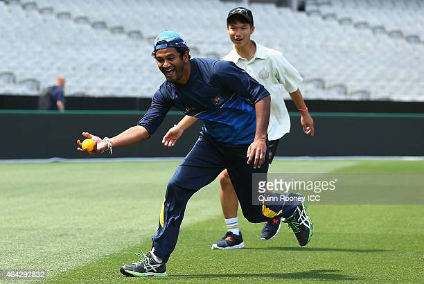 Dimuth Karunaratne of Sri Lanka fields whilst playing a game of cricket against members of the Geelong Grammar School during an ICC Charity Session...