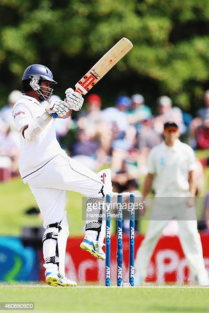 Dimuth Karunaratne of Sri Lanka hooks the ball away for four runs during day three of the First Test match between New Zealand and Sri Lanka at...