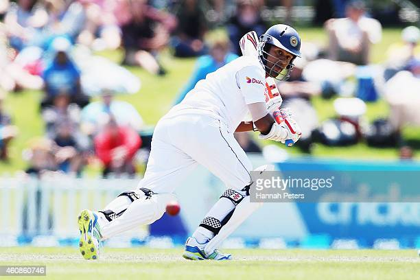Dimuth Karunaratne of Sri Lanka works the ball away for four runs during day three of the First Test match between New Zealand and Sri Lanka at...