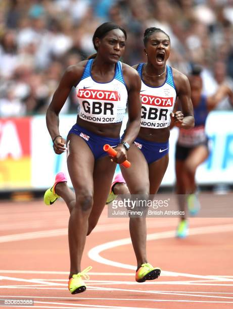 Dina AsherSmith and Daryll Neita of Great Britain compete in the 4 X 100 Metres Relay heats during day nine of the 16th IAAF World Athletics...