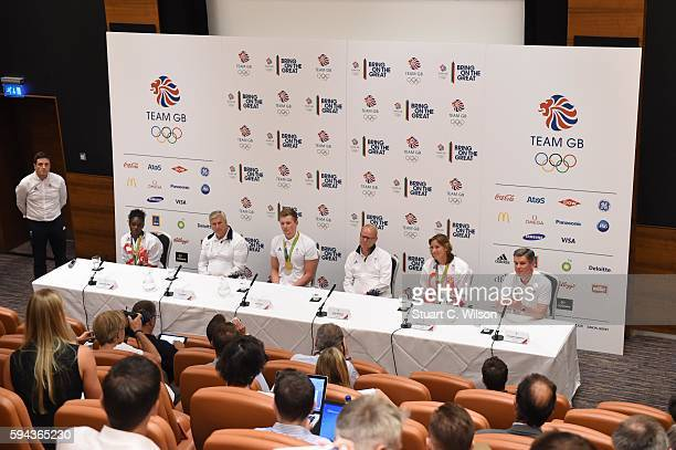 Dina AsherSmith Bill Sweeney Adam Peaty Mark England Katherine Grainger and Sir Hugh Robertson speak to journalists during the Team GB press...