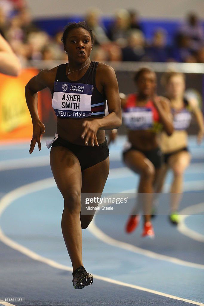Dina Asher-Smith in the women's 200m heats during day two of the British Athletics European Trials & UK Championship at the English Institute of Sport on February 10, 2013 in Sheffield, England.