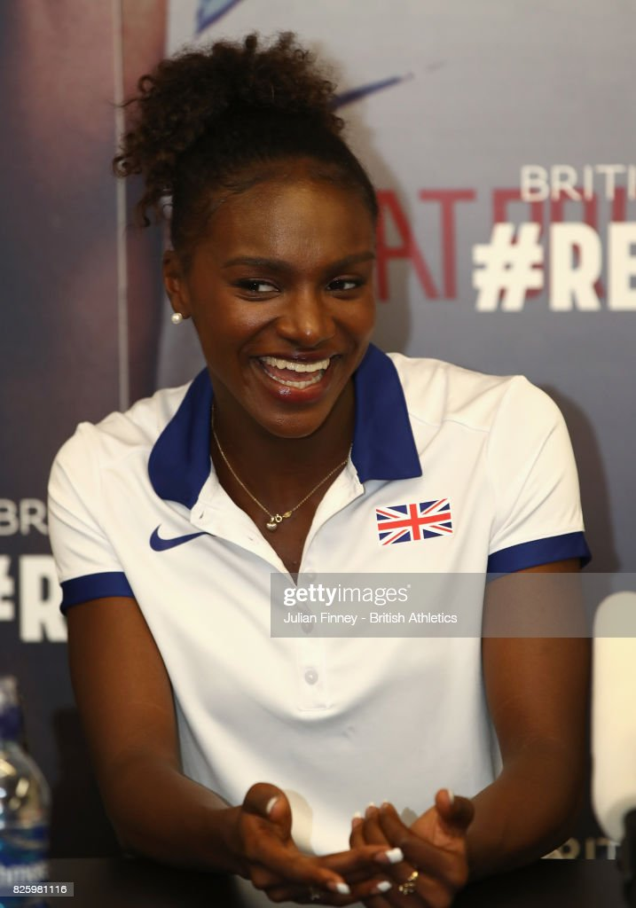 Dina Asher-Smith of Great Britain talks to the media during previews for the 16th IAAF World Athletics Championships London 2017 at The London Stadium on August 3, 2017 in London, United Kingdom.