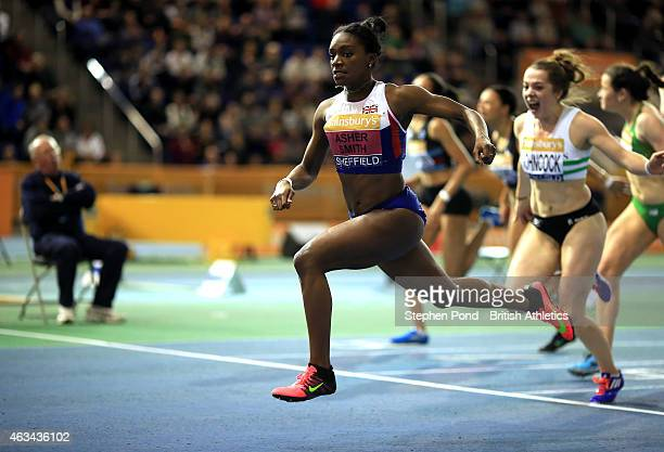 Dina AsherSmith of Great Britain wins the womens 60m during day one of the Sainsbury's British Athletics Indoor Championships at the English...