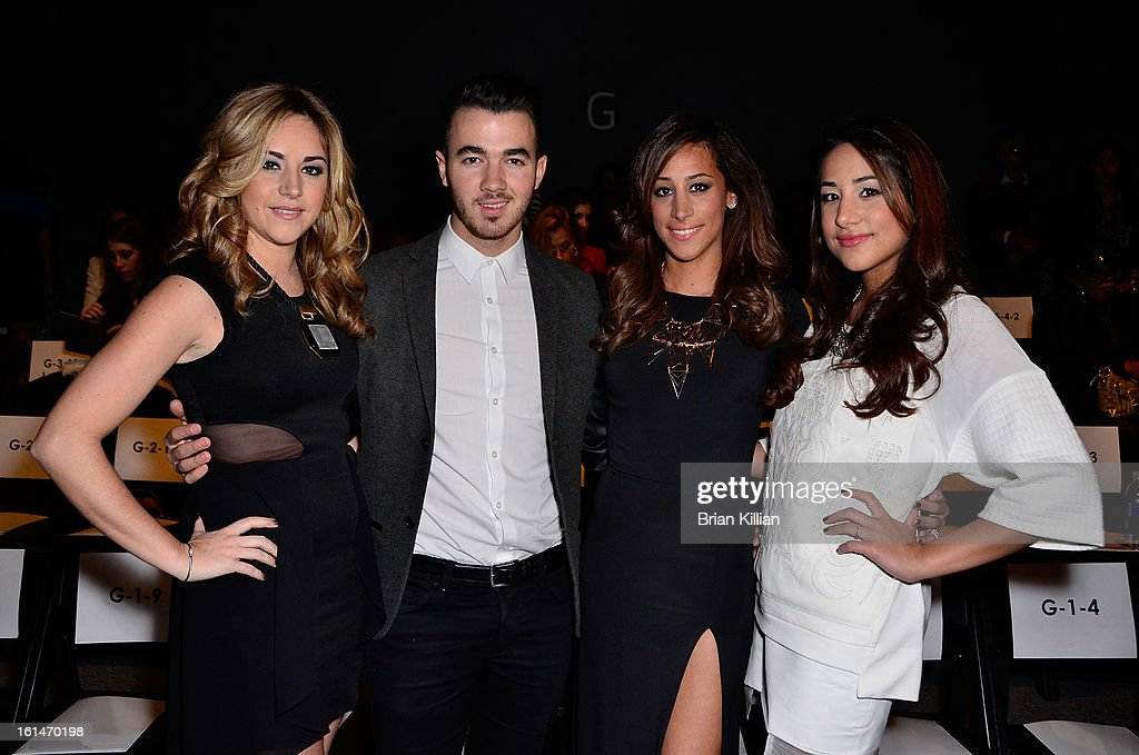 Dina Deleasa, <a gi-track='captionPersonalityLinkClicked' href=/galleries/search?phrase=Kevin+Jonas&family=editorial&specificpeople=709547 ng-click='$event.stopPropagation()'>Kevin Jonas</a>, Danielle Jonas, and Katie Deleasa attend Pamella Roland during Fall 2013 Mercedes-Benz Fashion Week at The Studio at Lincoln Center on February 11, 2013 in New York City.