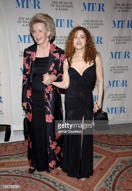 Dina Merrill and Bernadette Peters during Merv Griffin Honored at the Museum of Television and Radio's Annual Gala at Waldorf Astoria Grand...