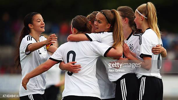 Dina Orschmann of Germany celebrates her team's first goal with team mates during the U17 girls international friendly match between germany and...