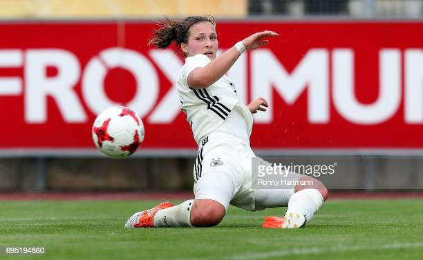Dina Orschmann of Germany kicks the ball during the U19 women's elite round match between Germany and Switzerland at Friedensstadion on June 9 2017...