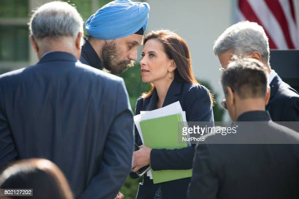 Dina Powell US Deputy National Security Advisor for Strategy to President Donald Trump speaks with members of India's delegation before President...