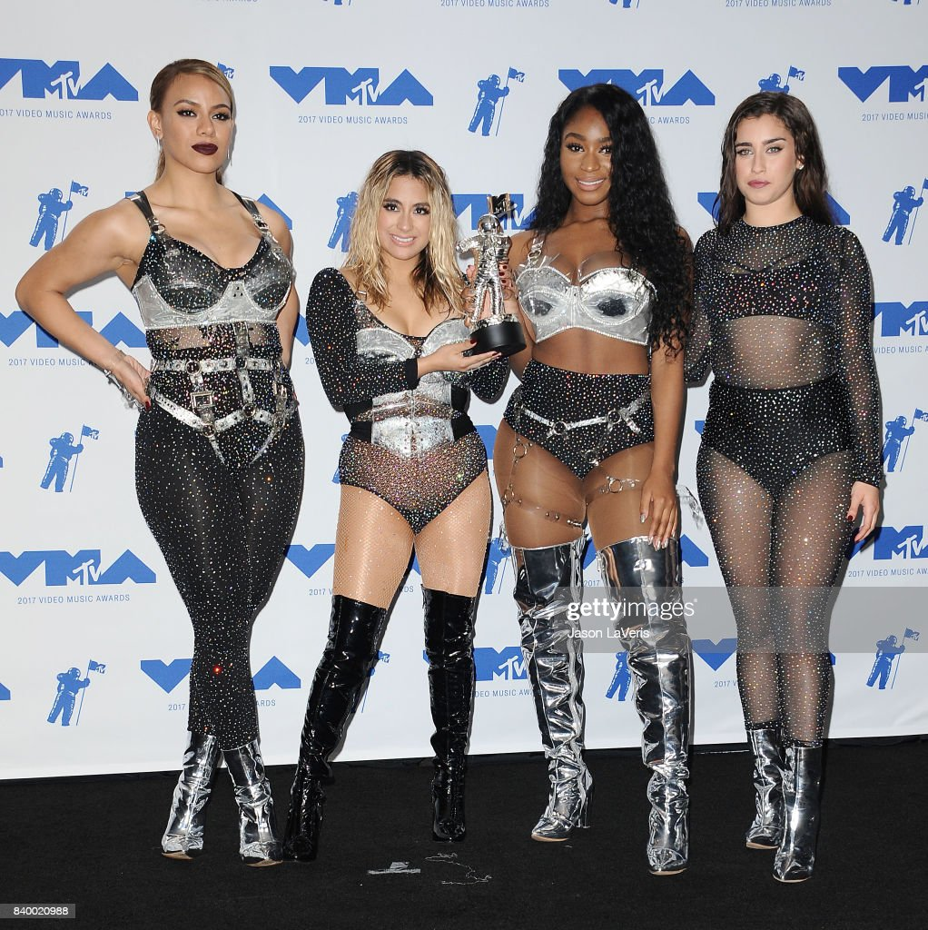 Dinah Jane, Ally Brooke, Normani Kordei and Lauren Jauregui of Fifth Harmony, winners of Best Pop for 'Down', pose in the press room at the 2017 MTV Video Music Awards at The Forum on August 27, 2017 in Inglewood, California.