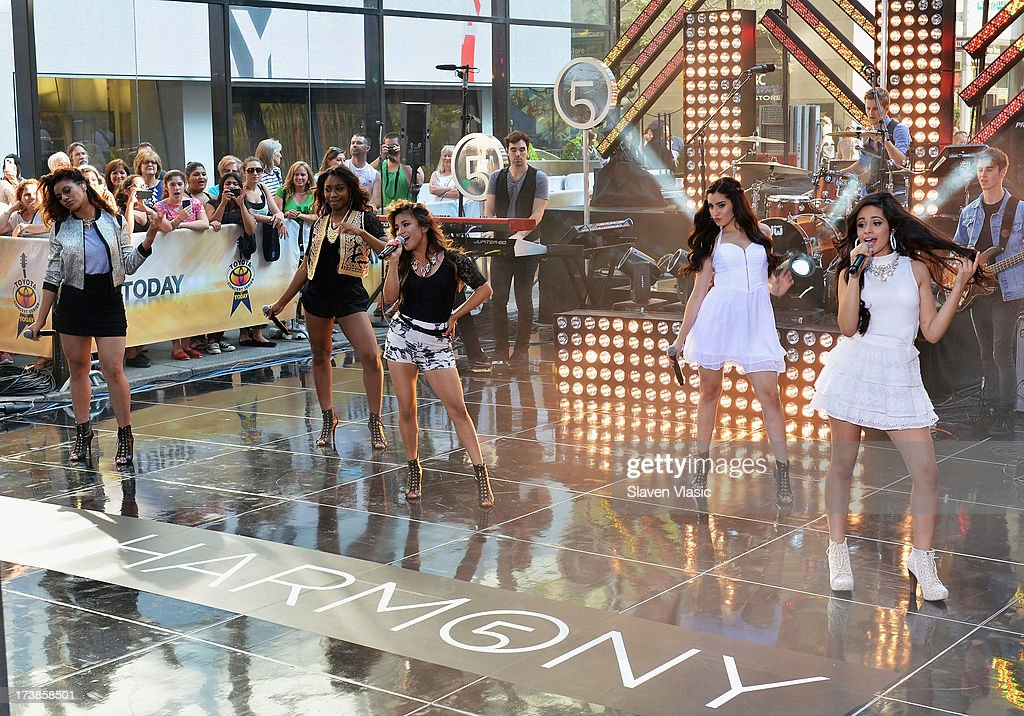 Dinah Jane Hansen, Normani Hamilton, Ally Brooke Hernandez, Lauren Jauregui and Camila Cabello of Fifth Harmony perform at NBC's TODAY Show on July 18, 2013 in New York City.