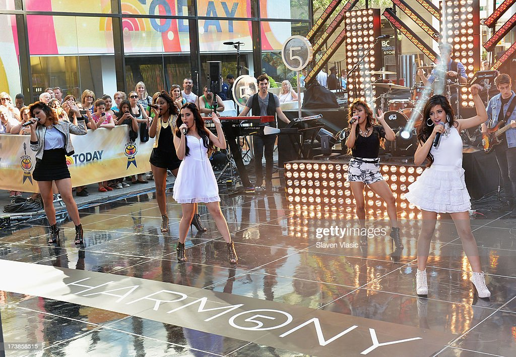 Dinah Jane Hansen, Normani Hamilton, Lauren Jauregui, Ally Brooke Hernandez and Camila Cabello of Fifth Harmony perform at NBC's TODAY Show on July 18, 2013 in New York City.