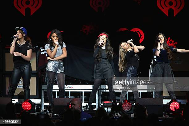 Dinah Jane Hansen Normani Kordei Camila Cabello Ally Brooke and Lauren Jauregui of Fifth Harmony perform onstage during KISS 108's Jingle Ball 2013...
