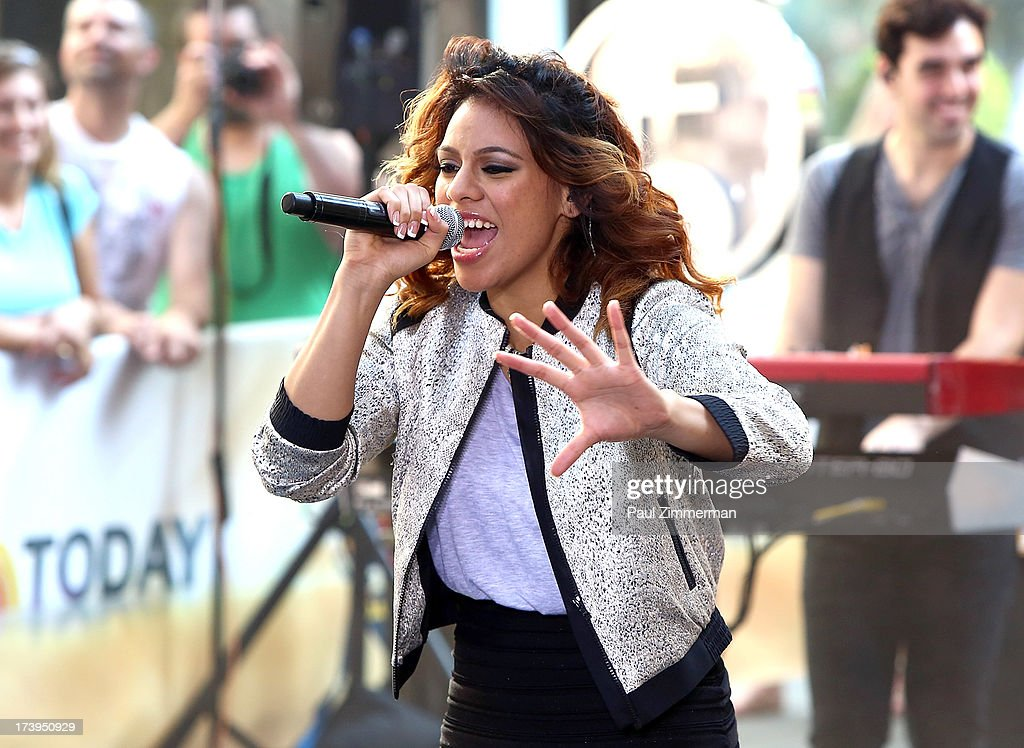 Dinah Jane Hansen of the band Fifth Harmony performs on NBC's 'Today' at Rockefeller Plaza on July 18, 2013 in New York City.
