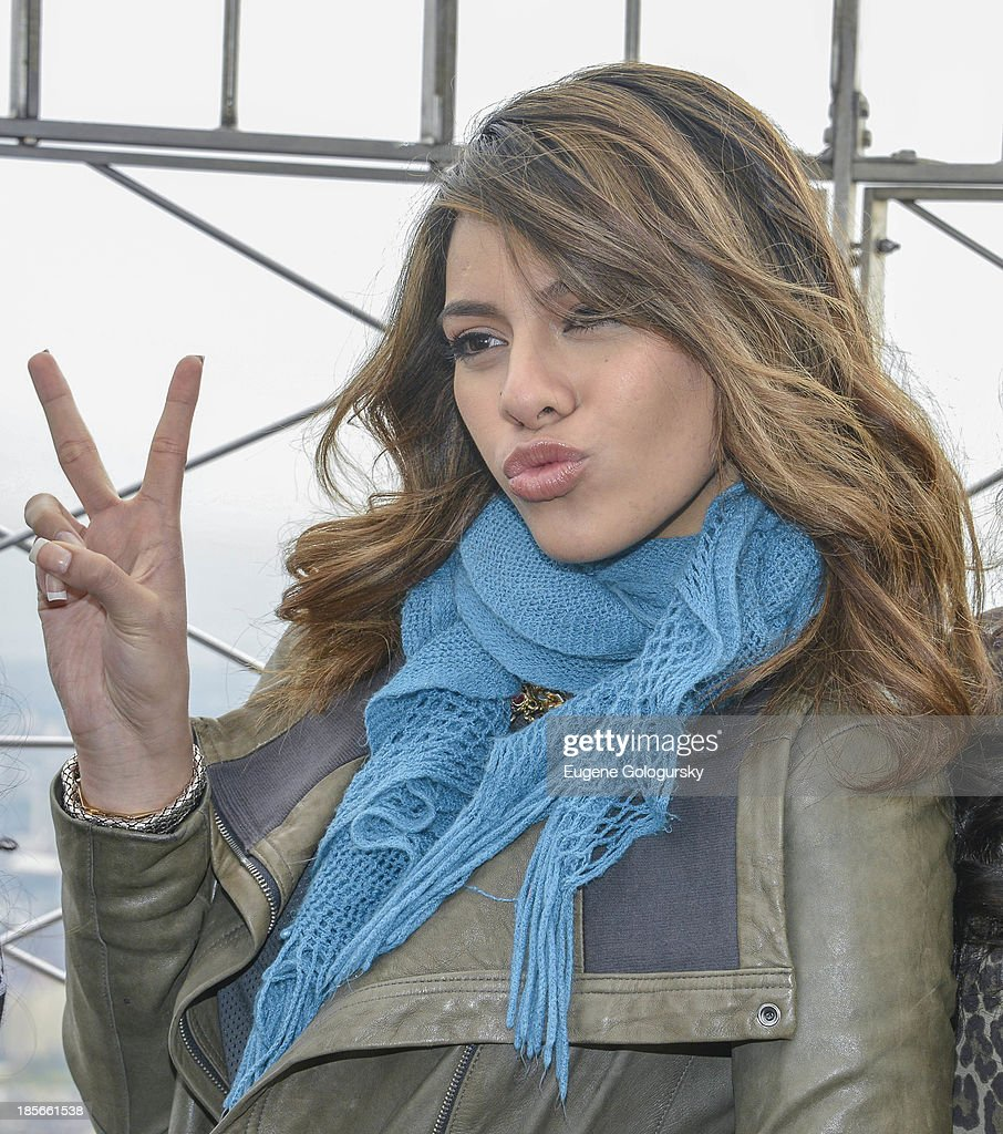 <a gi-track='captionPersonalityLinkClicked' href=/galleries/search?phrase=Dinah+Jane+Hansen&family=editorial&specificpeople=9951841 ng-click='$event.stopPropagation()'>Dinah Jane Hansen</a> visits the Empire State Building in celebration of the release of their 'Better Together' EP at The Empire State Building on October 23, 2013 in New York City.