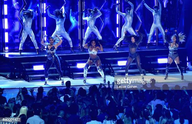 Dinah Jane Normani Kordei Lauren Jauregui and Ally Brooke of Fifth Harmony perform onstage onstage during the 2017 MTV Video Music Awards at The...