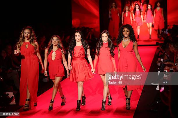 DinahJane Hansen Ally Brooke Lauren Jauregui Camila Cabello and Normani Kordei walk the runway during the Go Red For Women fall 2015 fashion show on...