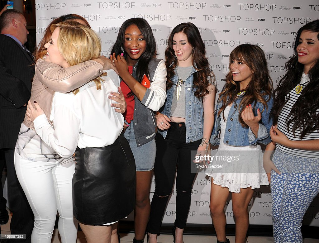 Dinah-Jane Hansen, Demi Lovato, Normani Kordei, Lauren Jauregui, Ally Brooke and Camila Cabello attend X Factor's Topshop photo call with Demi Lovato & 5th Harmony on May 13, 2013 in New York City.