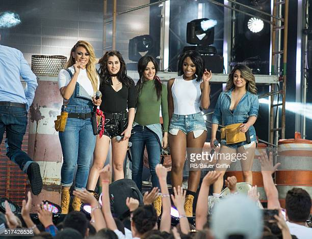 DinahJane Hansen Lauren Jauregui Camila Cabello Normani Hamilton and Ally Brooke of Fifth Harmony are seen at 'Jimmy Kimmel Live' on March 24 2016 in...