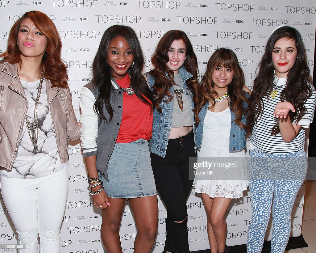 Dinah-Jane Hansen, Normani Hamilton, Lauren Jauregui, Ally Brooke, and Camila Cabello of Fifth Harmony attend a photocall at TopShop SoHo on May 13, 2013 in New York City.