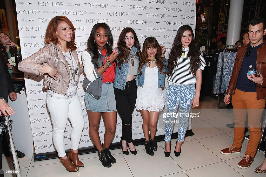 Dinah-Jane Hansen, Normani Hamilton, Lauren Jauregui, Ally Brooke, and Camila Cabello of Fifth Harmony attends a photocall at TopShop SoHo on May 13, 2013 in New York City.