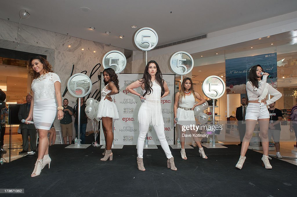 Dinah-Jane Hansen, Normani Hamilton, Lauren Jauregui, Ally Brooke and Camila Cabello of Fifth Harmony perform at Garden State Plaza on July 16, 2013 in Paramus, New Jersey.