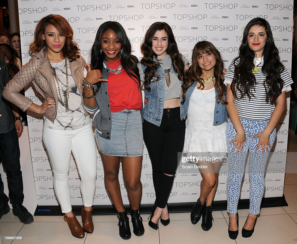 Dinah-Jane Hansen, Normani Kordei, Lauren Jauregui, Ally Brooke and Camila Cabello of Fifth Harmony attend X Factor's Topshop Photo Call With <a gi-track='captionPersonalityLinkClicked' href=/galleries/search?phrase=Demi+Lovato&family=editorial&specificpeople=4897002 ng-click='$event.stopPropagation()'>Demi Lovato</a> & 5th Harmony on May 13, 2013 in New York City.
