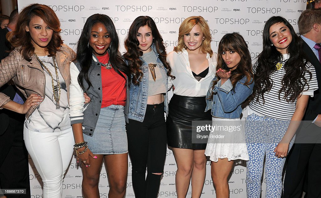 Dinah-Jane Hansen, Normani Kordei, Lauren Jauregui, <a gi-track='captionPersonalityLinkClicked' href=/galleries/search?phrase=Demi+Lovato&family=editorial&specificpeople=4897002 ng-click='$event.stopPropagation()'>Demi Lovato</a>, Ally Brooke and Camila Cabello attend X Factor's Topshop photo call with <a gi-track='captionPersonalityLinkClicked' href=/galleries/search?phrase=Demi+Lovato&family=editorial&specificpeople=4897002 ng-click='$event.stopPropagation()'>Demi Lovato</a> & 5th Harmony on May 13, 2013 in New York City.