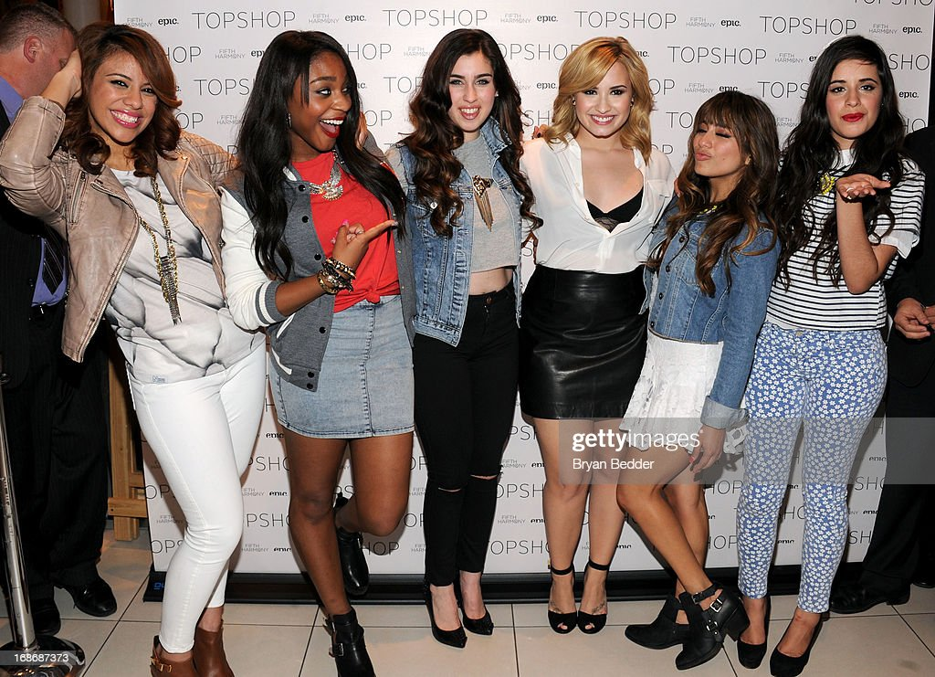 Dinah-Jane Hansen, Normani Kordei, Lauren Jauregui, Demi Lovato, Ally Brooke and Camila Cabello attend X Factor's Topshop photo call with Demi Lovato & 5th Harmony on May 13, 2013 in New York City.