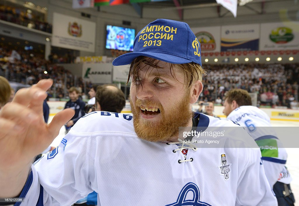 Dinamo became the champion. Janne Jalasvaara is celebrating his team's victory after the final play-off game between Dinamo Moscow and Traktor Chelyabinsk during the KHL Championship 2012/2013 on April 18, 2013 at the Arena Traktor in Chelyabinsk, Russia. The Dinamo won 2-3.