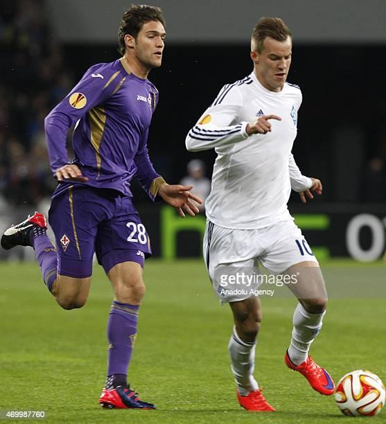 Dinamo Kiev's Andriy Yarmolenko in action against Fiorentina's Marcos Alonso during the UEFA Europa League quarter final match between Dinamo Kiev...
