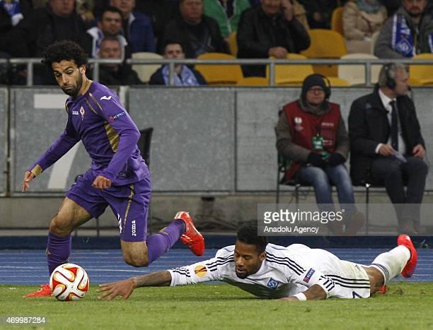 Dinamo Kiev's Jeremain Lens in action against Fiorentina's Matias Fernandez during the UEFA Europa League quarter final match between Dinamo Kiev and...