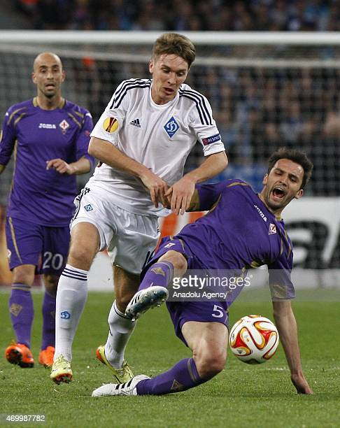 Dinamo Kiev's Serhiy Sydorchuk in action against Fiorentina's Milan Badelj during the UEFA Europa League quarter final match between Dinamo Kiev and...