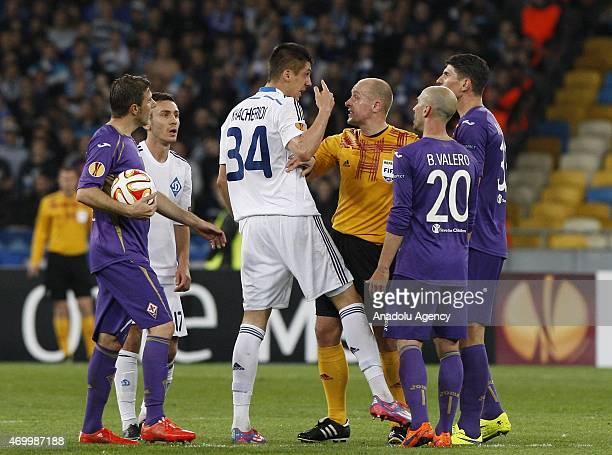 Dinamo Kiev's Yevhen Khacheridi reacts to referee during the UEFA Europa League quarter final match between Dinamo Kiev and Fiorentina at Nsk...
