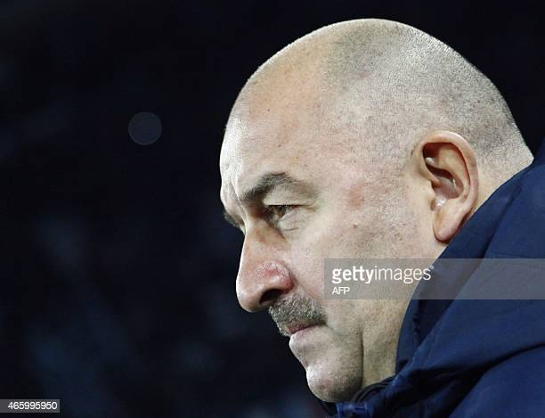 Dinamo Moscow's Russian coach Stanislav Cherchesov looks on before the UEFA Europa League Round of 16 first leg football match SSC Napoli vs FK...