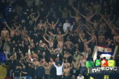 Dinamo Zagreb fans cheer with their shirts off during the UEFA Cup Group D match between Tottenham Hotspur and Dinamo Zagreb at White Hart Lane on...