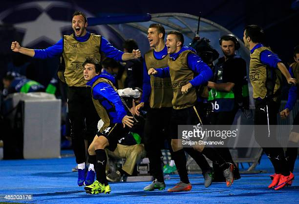 Dinamo Zagreb players Ante Coric and Armin Hodzic celebrate victory after the UEFA Champions League Qualifying Round Play Off Second Leg match...