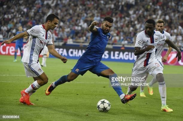 Dinamo Zagreb's Algerian forward El Arabi Hilal Soudani kicks the ball during the Champions League Group H football match between Olympique Lyonnais...