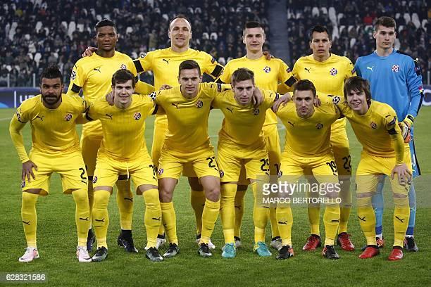 Dinamo Zagreb's players forward Junior Fernandes of Chile defender Gordon Schildenfeld from Croatia forward Amer Gojak of Bosnia Erzegovina defender...